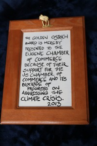 Our Award using humor to point out the Chamber complicity with Climate Crisis.