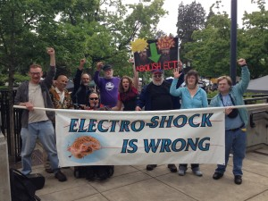 At the end of the Eugene protest of human rights violations caused by electroshock, we posed for a photo.