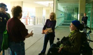 """Or """"tour"""" met with a staff person from Rep. Peter DeFazio's office, who came outside to meet with us. All the security in the Federal Building meant that our group could not get inside."""